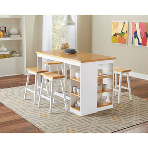 Christy Oak and White Counter Storage Table