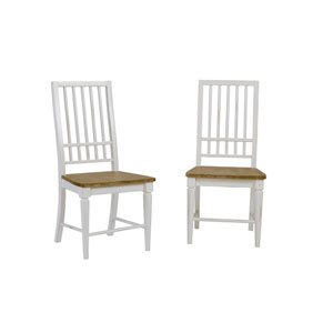 Light Oak/Distressed White Dining Chair, Set of 2