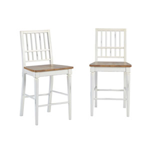 Light Oak/ Distressed White Counter Chair, Set of 2
