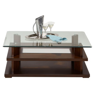 Delfino Burnished Cherry Rectangular Cocktail Table