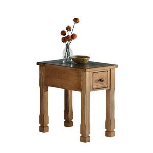 Rustic Ridge Oak Veneer Chairside Table