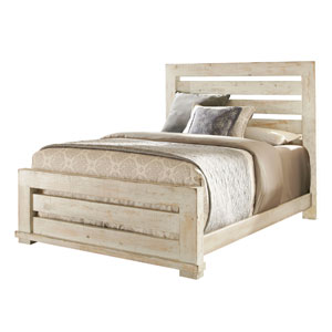 Willow Distressed White Queen Slat Complete Bed