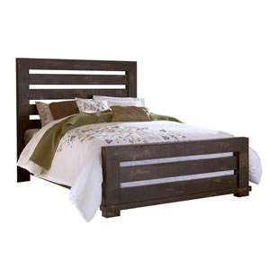 Willow Isle Distressed Black King Upholstered Complete Bed