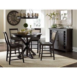 Willow Distressed Black Counter Upholstered Chair, Set of 2