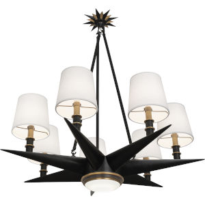 Cosmos Bronze Eight-Light Chandelier With Oyster Linen Fabric Shade