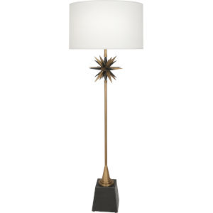 Cosmos Bronze One-Light Floor Lamp With Oyster Linen Fabric Shade