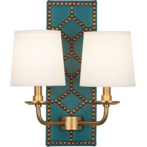 Williamsburg Lightfoot Aged Brass Accents Two-Light Wall Sconce With Fondine Fabric Shades