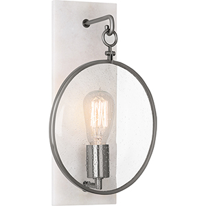 Fineas Dark Antique Nickel with Alabaster Stone Back Plate Nine-Inch One-Light Wall Sconce