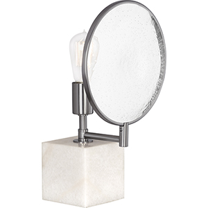 Fineas Dark Antique Nickel and Alabaster Stone Base 15-Inch One-Light Table Lamp