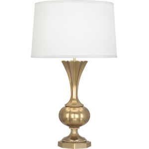 Williamsburg Clementina Modern Brass One-Light Table Lamp With Ivory Silk Shade