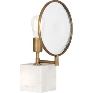 Fineas Alabaster Stone Base and Aged Brass 15-Inch One-Light Table Lamp