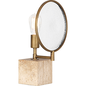 Fineas Travertine Stone Base and Aged Brass 15-Inch One-Light Table Lamp