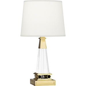 Darius Clear Crystal and Modern Brass 18-Inch One-Light Table Lamp