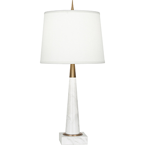 Florence Warm Brass and White Marble 21-Inch One-Light Table Lamp