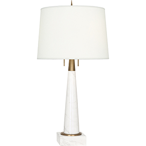 Florence Warm Brass and White Marble 33-Inch Two-Light Table Lamp