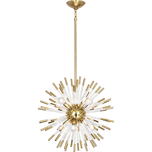 Andromeda Modern Brass with Clear Acrylic Rods 20-Inch Eight-Light Chandelier