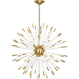 Andromeda Modern Brass with Clear Acrylic Rods 28-Inch Eight-Light Chandelier