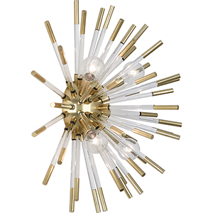 Andromeda Modern Brass with Clear Acrylic Rods 18-Inch Four-Light Wall Sconce
