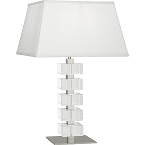 Jonathan Adler Monaco Polished Nickel and Clear Crystal Blocks 26-Inch One-Light Table Lamp