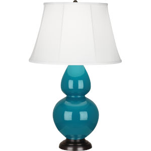 Double Gourd Peacock Glazed Ceramic One-Light Table Lamp With Ivory Silk Stretched Fabric Shade