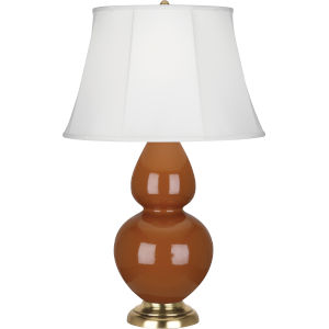 Double Gourd Cinnamon Glazed Ceramic One-Light Table Lamp With Ivory Silk Stretched Fabric Shade
