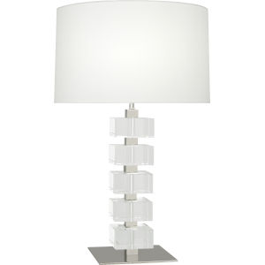 Jonathan Adler Monaco Polished Nickel One-Light Table Lamp With White Silk Shade