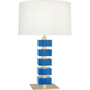 Jonathan Adler Monaco Lacquered Natural Brass One-Light Table Lamp With Off-White Silk Shade