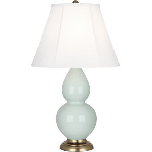 Small Double Gourd Celadon Glazed Ceramic One-Light Accent Lamp With Ivory Silk Stretched Fabric Shade