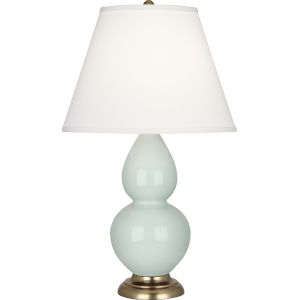 Small Double Gourd Celadon Glazed Ceramic One-Light Accent Lamp With Pearl Dupioni Fabric Shade