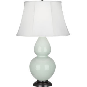 Double Gourd Celadon Glazed Ceramic One-Light Table Lamp With Ivory Silk Stretched Fabric Shade