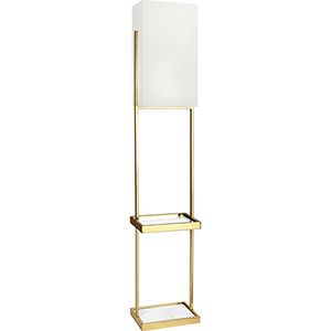 Nikole Modern Brass and White Marble 65-Inch One-Light Floor Lamp