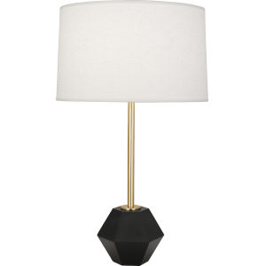 Marcel Modern Brass One-Light Table Lamp With Oyster Linen