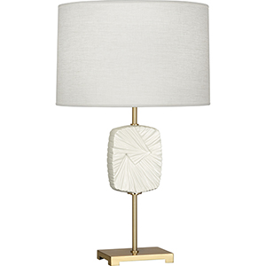 Michael Berman Alberto Modern Brass with Flat Lily Accent 27-Inch One-Light Table Lamp