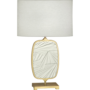 Michael Berman Flynn Modern Brass with Flat Lily Accent 28-Inch One-Light Table Lamp