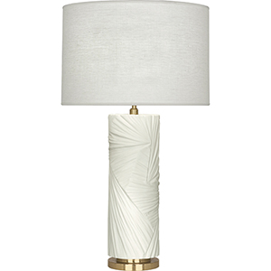 Michael Berman Lucien Flat Lily with Modern Brass Accents 30-Inch One-Light Table Lamp
