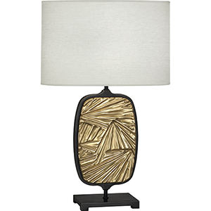 Michael Berman Flynn Deep Patina Bronze with Modern Brass Accents 28-Inch One-Light Table Lamp