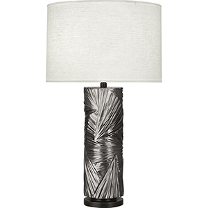 Michael Berman Lucien Blackened Antique Silver with Deep Patina Bronze Accents 30-Inch One-Light Table Lamp