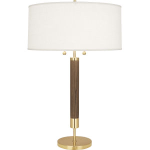 Dexter Modern Brass Two-Light Table Lamp With Oyster Linen Shade