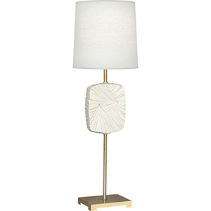 Michael Berman Alberto Modern Brass with Flat Lily Accent 32-Inch One-Light Table Lamp