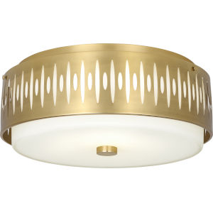 Treble Modern Brass Four-Light Flushmount With White Frosted Glass Shade