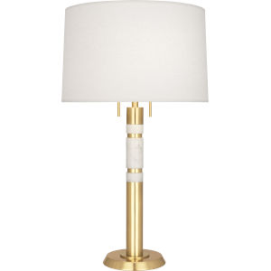 Hudson Modern Brass Two-Light Table Lamp With Oyster Linen