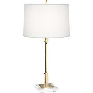 Empire Modern Brass with White Marble Base 29-Inch One-Light Table Lamp