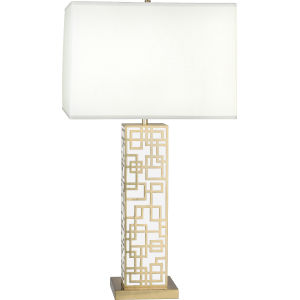 Lloyd Modern Brass One-Light Table Lamp With Square Oyster Linen Shade