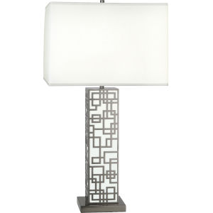 Lloyd Blackened Nickel One-Light Table Lamp With Square Oyster Linen Shade