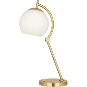 Nova Modern Brass One-Light Table Lamp With White Cased Glass Shade