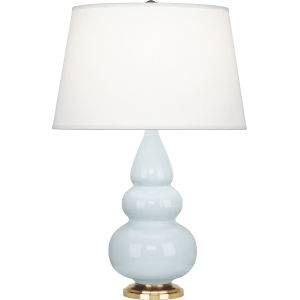 Small Triple Gourd Natural Brass One-Light Accent Lamp With Pearl Dupioni Fabric Shade