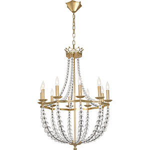 Williamsburg Coronet Modern Brass and Clear Crystal Accents 26-Inch 10-Light Chandelier