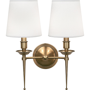 Cedric Warm Brass  14-Inch Two-Light Wall Sconce