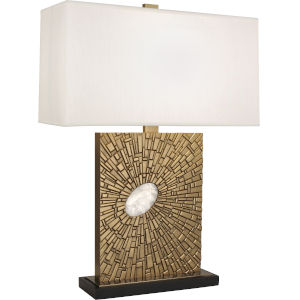 Goliath Antiqued Modern Brass One-Light Table Lamp