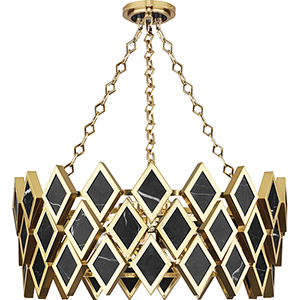 Edward Modern Brass with Black Marble Accents 26-Inch Four-Light Chandelier